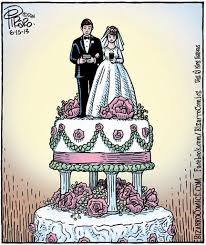 Dan Piraro nails the wedding cake. A couple atop the cake  (caketopper) looks down at their respective smartphones.