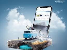 "An ad for Warba Bank by We Plan. It is arty...it shows a VW bus going on an expedition ""into"" a larger-than-life smartphone."