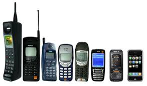 How mobile phones have evolved from bulky devices with antennas to small smartphones.