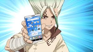 An anime from the Japanese TV series Dr. Stone. The cartoon character brandishes a smartphone.