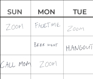 A whiteboard is shown and for each day of the week, scheduled online meetings on zoom or facetime.