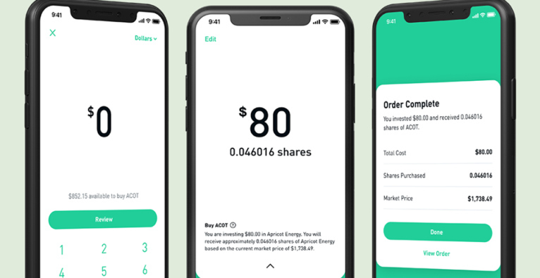 Robinhood is a site to buy and sell stocks. Three smartphone screen shots are shown, which mimic how a real trade would take be placed.