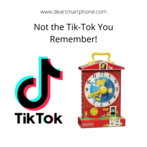 A juxtaposition of the tik-tok corporate logo and a tick-tock kid's toy clock from Fisher Price.