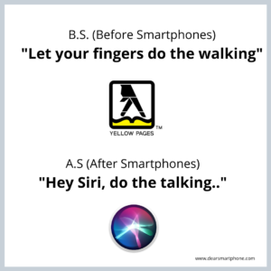 two logos on a page: the yellow pages 'let your fingers do the walking' and now siri, 'let siri do the talking'.