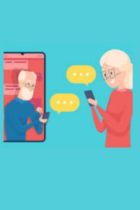 A cartoon (originally from Shutterstock) of two older people getting a message on their phone.