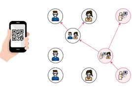 Graphic of a phone in hand and a network of individuals it can reach...the intention is to depict Covid tracking by phone.