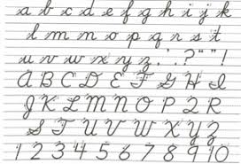 A page from a kid's primer of cursive writing- with the letters a to z and the numbers 1 to 10.