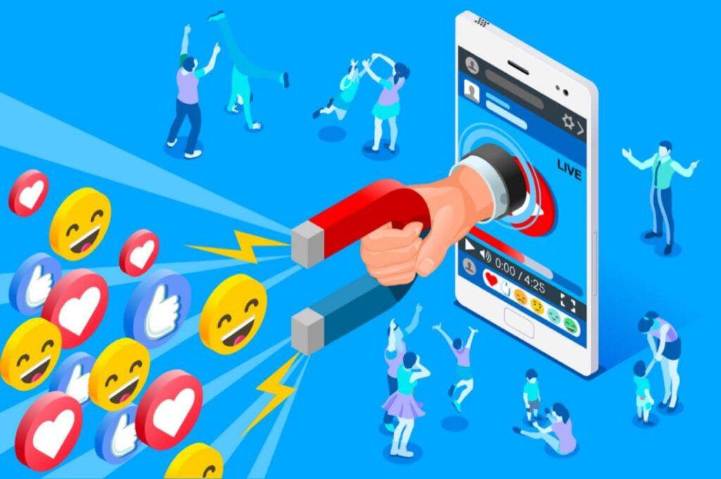 A graphic from Shutterstock of a magnet reaching out from a phone drawing in likes - in other words, what social media does.  https://jingdaily.com/china-influencer-fatigue/