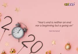 "On a pink background rests an alarm clock, so it forms the number zero. Then 2020 is spelled out. The quote says :""year's end is neither an and nor beginning but a going on."""