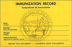 Vaccination record on old yellow form.