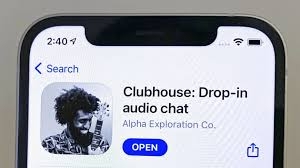 A cellphone screen, just the top half, before the clubhouse audio chat app opens.