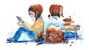 A sketch of a young boy and a young girl sitting back to back reading. Is their reading routine print or digital?