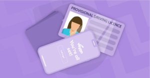 Is  Teen ready for Smartphone? A sketch with a violet colored background of a cell phone case and a provisional driver's license. Used  to promote idea of a provisional phone for teens.