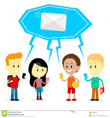 A cartoon of four children holding phones to text each other.  Above their head is a giant Covid like mask with an envelope!