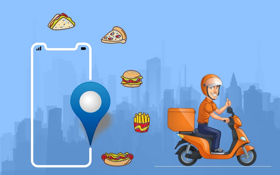 Cartoon sketch of delivery person on bike and smartphone where orders are sent in.