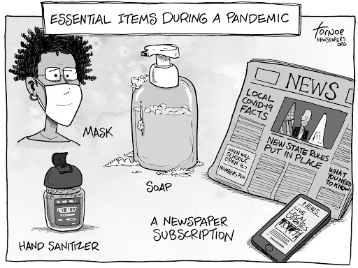 A cartoon from newspapers.org suggesting that newspapers are key during a pandemic, along with soap and sanitizer.