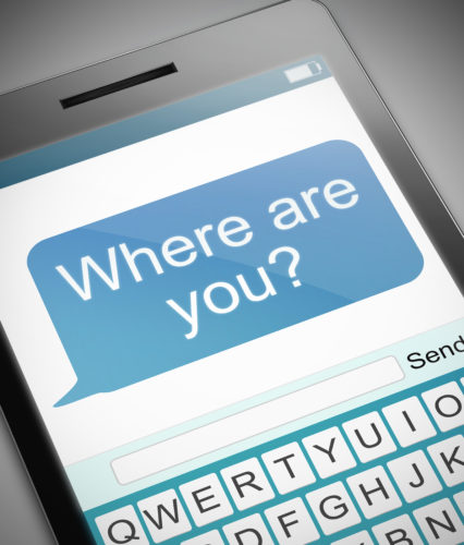 """A phone with a text message that says """"Where are you?"""" Do we need to be locatable all the time?"""