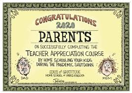 A mock-up of a 'certificate of completion' or diploma for parents who homeschooled through the pandemic.