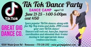 """An ad for a Dance Camp called """"TikTok Dance Party."""" Targeted to young girls."""