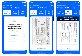 Three screenshots from a smartphone showing how to use NY state's Excelsior Vaccine Record for Phones.