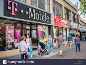 Stock Alamy photo of TMobile, Verizon and AT&T stores in Jackson Heights, Queens, NY in Sept. 2016