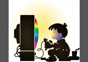 A cartoon of a little Asian child in front of a very large monitor with a game remote control in hand